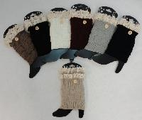 Knitted Boot Cuffs [ 1 Button-Antique Lace]